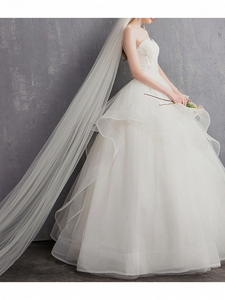 A-Line Wedding Dresses Strapless Floor Length Tulle Regular Straps_3