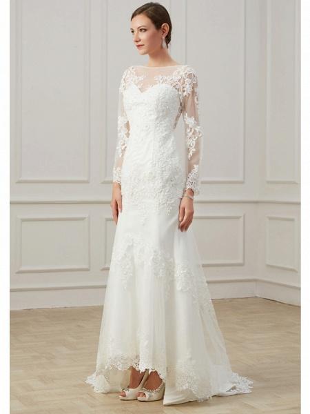 Sheath \ Column Wedding Dresses Jewel Neck Sweep \ Brush Train Lace Tulle Long Sleeve Formal Plus Size Illusion Sleeve_3