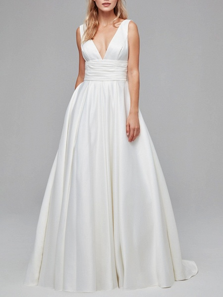 A-Line Wedding Dresses V Neck Court Train Satin Regular Straps_3