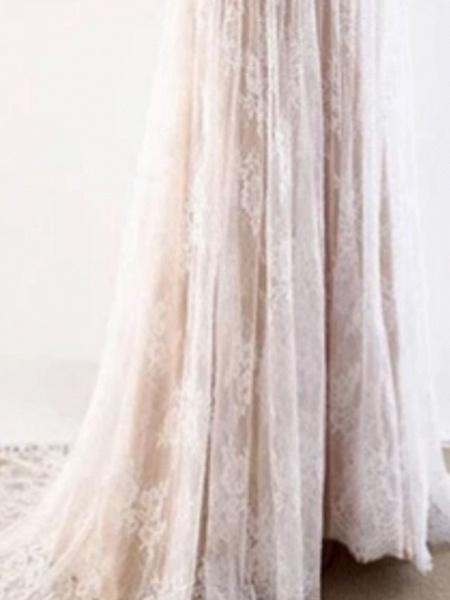 A-Line Wedding Dresses V Neck Sweep \ Brush Train Tulle Short Sleeve Illusion Detail_2