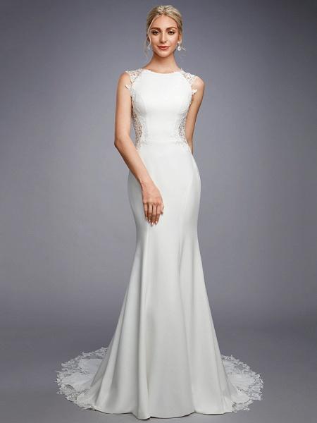 Mermaid \ Trumpet Wedding Dresses Bateau Neck Court Train Chiffon Lace Regular Straps Sexy Illusion Detail Backless_4