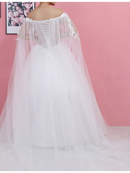 Ball Gown Wedding Dresses Off Shoulder Sweep \ Brush Train Lace Tulle Regular Straps Formal_4
