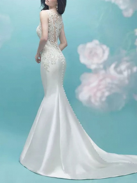 Mermaid \ Trumpet Wedding Dresses V Neck Court Train Lace Satin Sleeveless Casual Plus Size_2