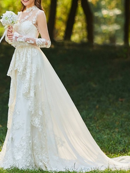A-Line Wedding Dresses High Neck Sweep \ Brush Train Chiffon Lace Tulle Long Sleeve Romantic Sexy See-Through Backless_2
