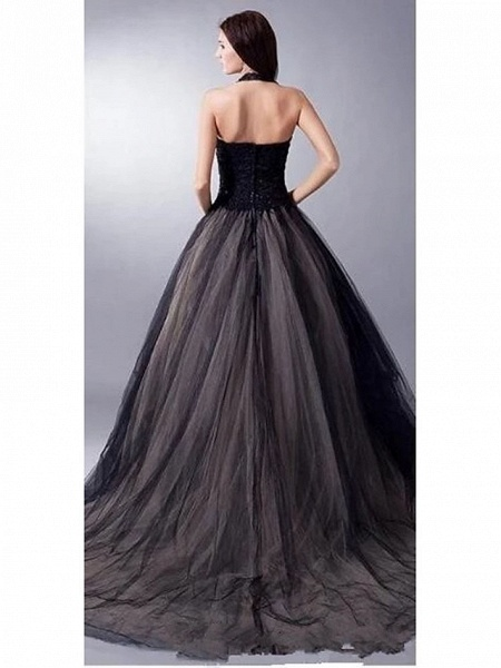 Ball Gown Wedding Dresses V Neck Sweep \ Brush Train Lace Tulle Regular Straps Sexy Plus Size Black Modern_3