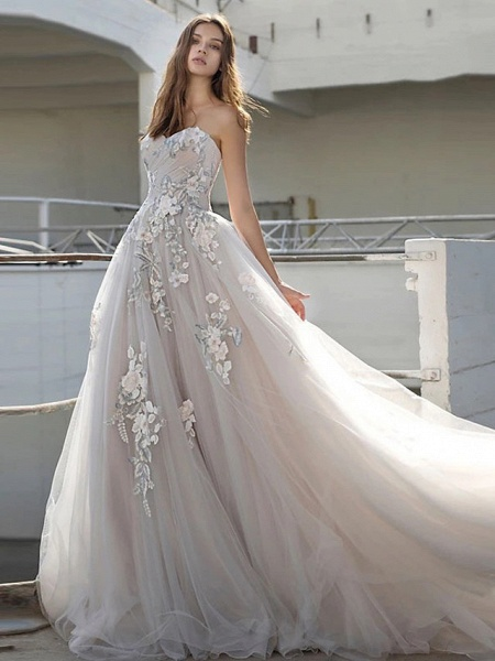 Ball Gown Strapless Court Train Lace Tulle Strapless Sexy Plus Size Wedding Dresses_2