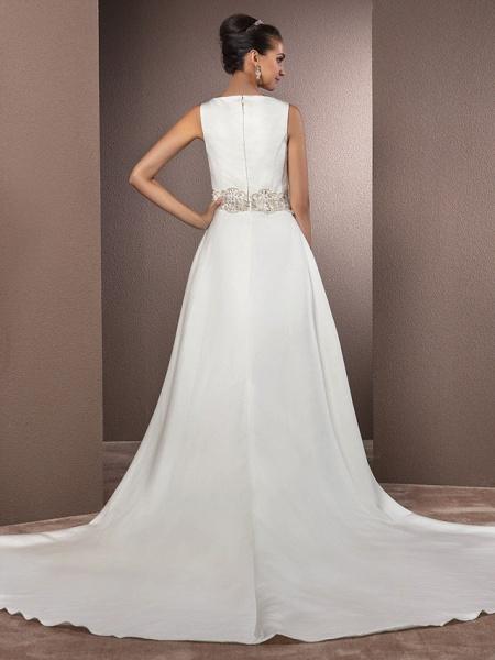 Mermaid \ Trumpet Wedding Dresses Bateau Neck Cathedral Train Satin Regular Straps Vintage Inspired_4