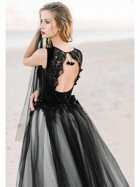 A-Line Wedding Dresses Scoop Neck Court Train Lace Tulle Regular Straps Black Modern_3