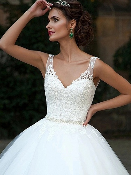 Ball Gown Wedding Dresses V Neck Court Train Lace Tulle Spaghetti Strap Country Illusion Detail Backless_3