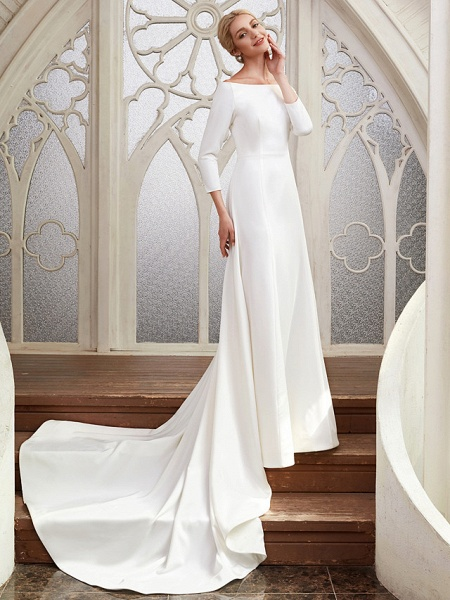 A-Line Wedding Dresses Bateau Neck Chapel Train Satin 3\4 Length Sleeve Elegant_4