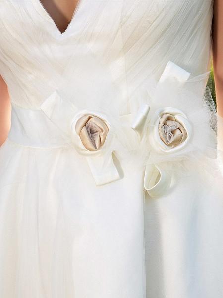 Ball Gown Wedding Dresses V Neck Knee Length Tulle Sleeveless See-Through_7