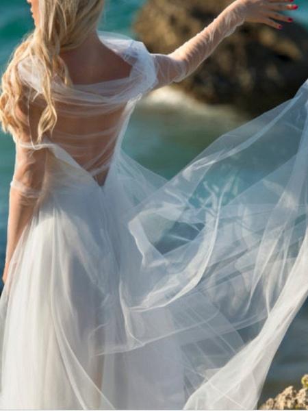 A-Line Wedding Dresses V Neck Spaghetti Strap Floor Length Chiffon Tulle Sleeveless Beach Sexy Wedding Dress in Color_3
