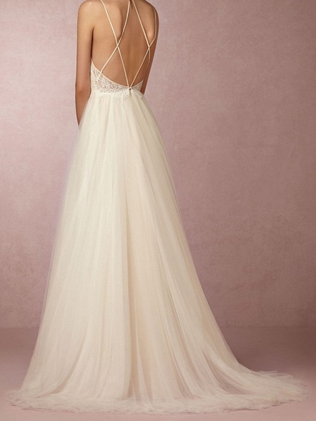 A-Line Wedding Dresses V Neck Sweep \ Brush Train Lace Tulle Spaghetti Strap Simple Plus Size_3