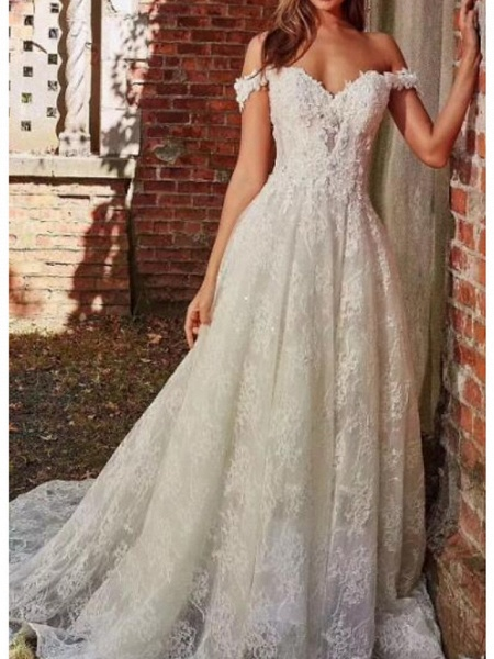 A-Line Off Shoulder Sweep \ Brush Train Polyester Cap Sleeve Country Plus Size Wedding Dresses_1