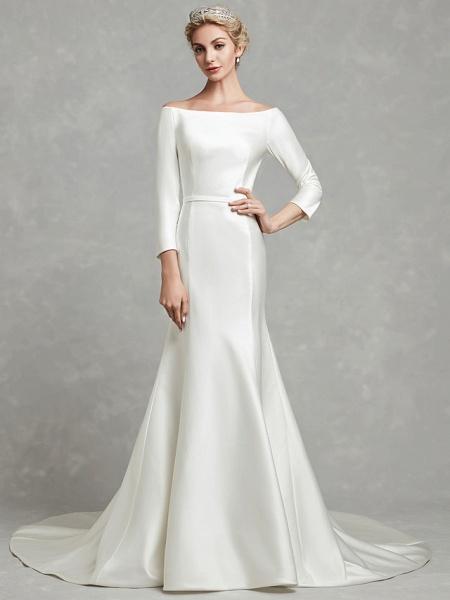 Mermaid \ Trumpet Wedding Dresses Bateau Neck Chapel Train Satin Long Sleeve Formal Little White Dress_6