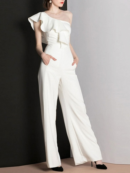Jumpsuits Wedding Dresses One Shoulder Floor Length Polyester Cap Sleeve Romantic Modern_2