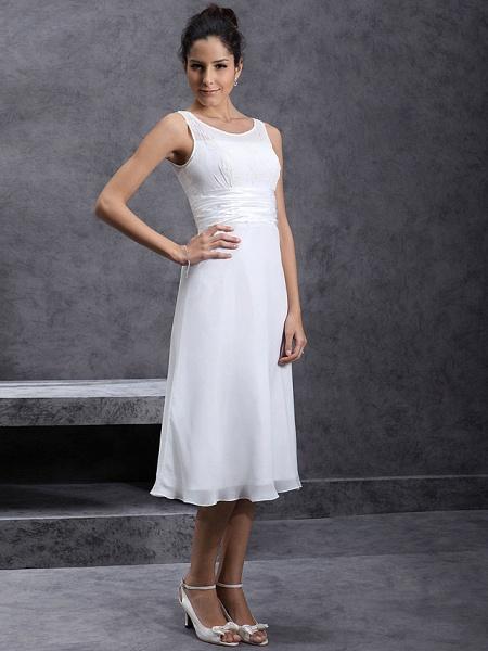 Sheath \ Column Wedding Dresses Scoop Neck Tea Length Chiffon Regular Straps Little White Dress_3