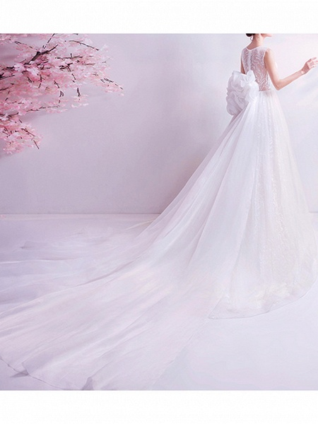 A-Line Wedding Dresses Jewel Neck Watteau Train Chiffon Tulle Sleeveless Formal Illusion Detail Plus Size_3