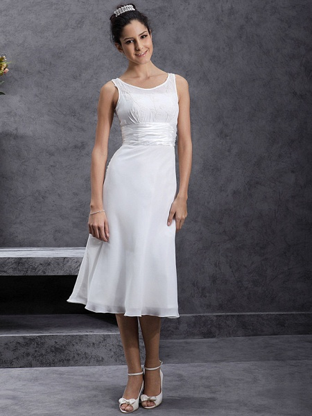 Sheath \ Column Wedding Dresses Scoop Neck Tea Length Chiffon Regular Straps Little White Dress_7