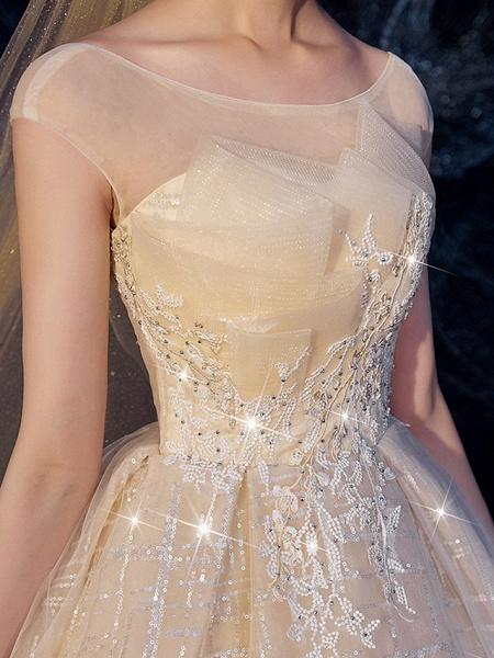 A-Line Wedding Dresses Jewel Neck Sweep \ Brush Train Lace Short Sleeve_2