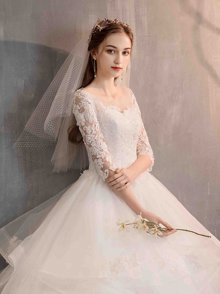 Ball Gown Wedding Dresses Jewel Neck Floor Length Lace Tulle Half Sleeve Glamorous See-Through Backless Illusion Sleeve_8