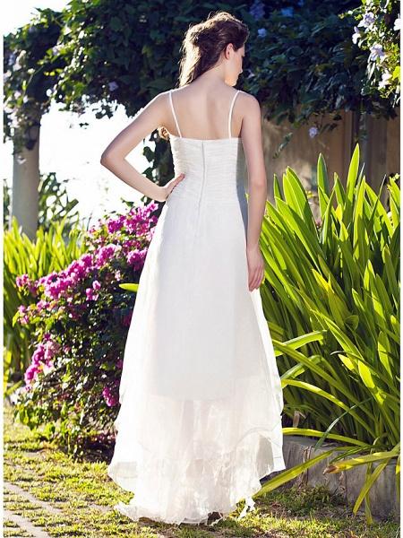 A-Line Wedding Dresses V Neck Asymmetrical Organza Spaghetti Strap_5