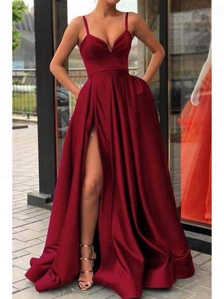 A-Line Sexy Red Quinceanera Formal Evening Dress V Neck Sleeveless Sweep \ Brush Train Jersey_4