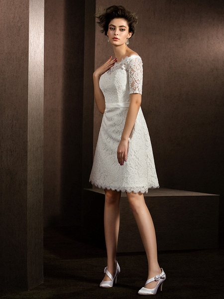 A-Line Wedding Dresses Bateau Neck Knee Length Lace Half Sleeve Formal Casual Little White Dress Illusion Sleeve_10