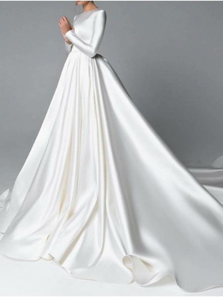A-Line Wedding Dresses Jewel Neck Chapel Train Satin Long Sleeve Simple Plus Size Elegant_2