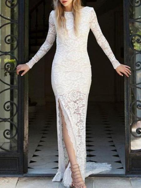 Mermaid \ Trumpet Wedding Dresses Jewel Neck Sweep \ Brush Train Lace Long Sleeve Sexy_2