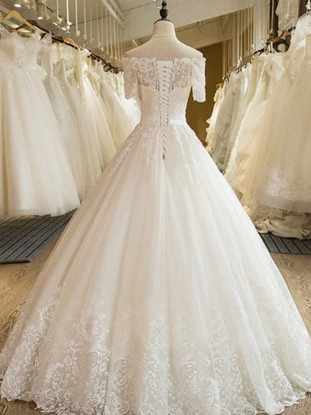 Ball Gown Off Shoulder Court Train Lace Tulle Long Sleeve Formal Wedding Dresses_2