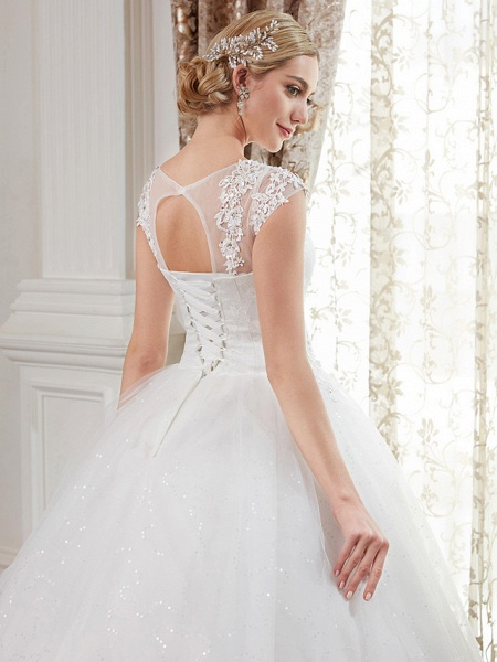 Ball Gown Wedding Dresses Jewel Neck Floor Length Lace Over Tulle Cap Sleeve Romantic Illusion Detail_7