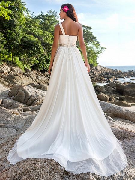 A-Line Wedding Dresses One Shoulder Court Train Chiffon Regular Straps Beach Sparkle & Shine_2