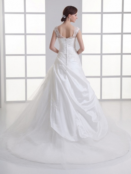 A-Line Square Neck Court Train Taffeta Tulle Regular Straps Wedding Dresses_3