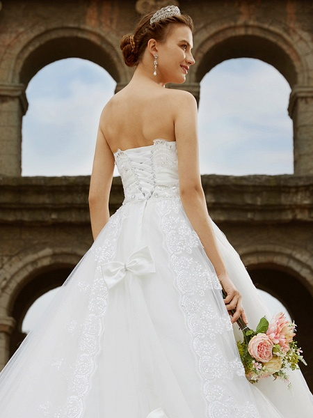 Ball Gown Wedding Dresses Strapless Sweep \ Brush Train Tulle Glitter Lace Strapless Country Sparkle & Shine Backless_8