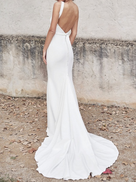 Sheath \ Column Wedding Dresses V Neck Chapel Train Tulle Sleeveless Country Sexy Wedding Dress in Color See-Through_3