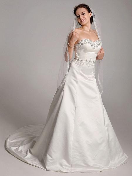 Princess A-Line Wedding Dresses Strapless Sweetheart Neckline Court Train Satin Sleeveless_2