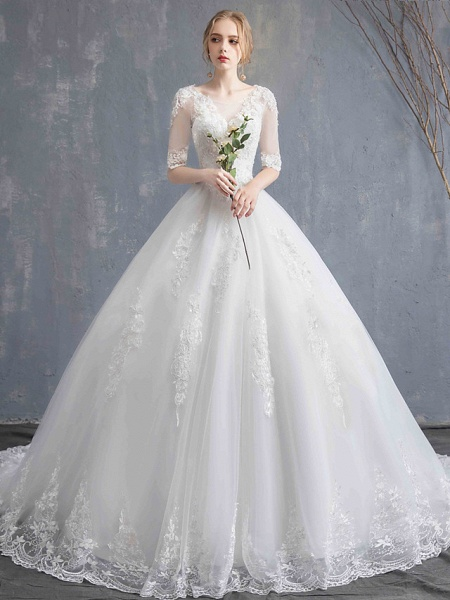 Ball Gown Wedding Dresses Scoop Neck Chapel Train Lace Tulle Sequined Half Sleeve Glamorous See-Through Illusion Sleeve_8