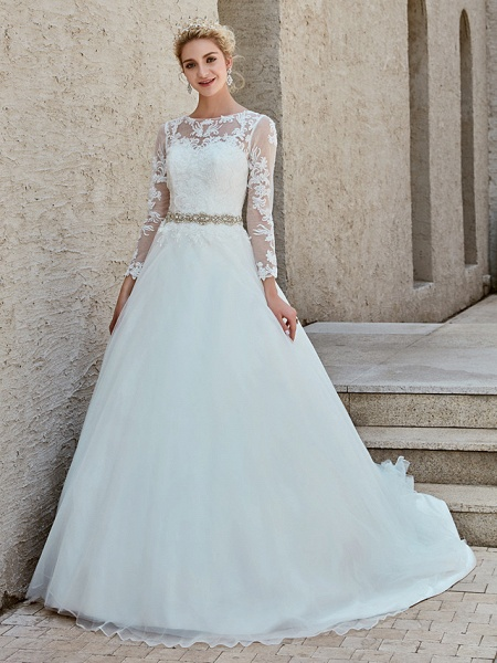 Ball Gown Wedding Dresses Bateau Neck Chapel Train Lace Tulle Long Sleeve Beautiful Back Illusion Sleeve_4