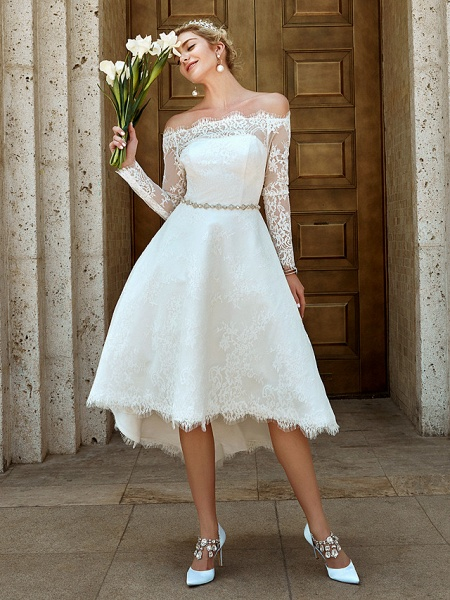A-Line Wedding Dresses Off Shoulder Asymmetrical Lace Long Sleeve Casual Plus Size Illusion Sleeve_7