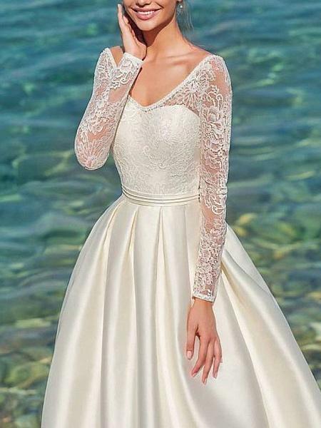 A-Line Wedding Dresses V Neck Sweep \ Brush Train Satin Long Sleeve_1