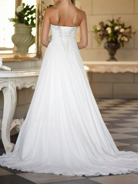 A-Line Wedding Dresses Strapless Sweep \ Brush Train Tulle Strapless Formal Plus Size_2