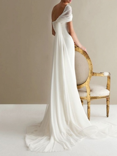 A-Line Wedding Dresses One Shoulder Sweep \ Brush Train Lace Tulle Strapless Formal Plus Size_2