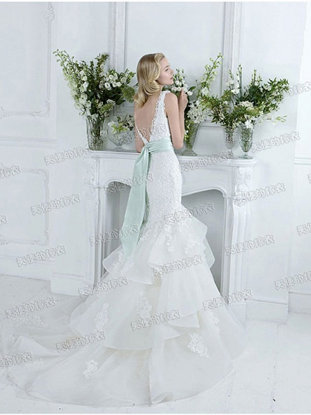 Mermaid \ Trumpet Wedding Dresses V Neck Court Train Lace Tulle Sleeveless Sexy Plus Size_3