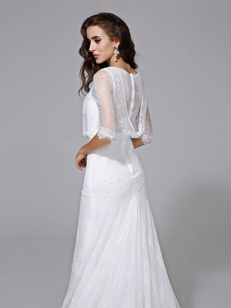 Mermaid \ Trumpet Wedding Dresses Scoop Neck Court Train Satin Lace Over Tulle Half Sleeve Simple Backless Illusion Sleeve_7