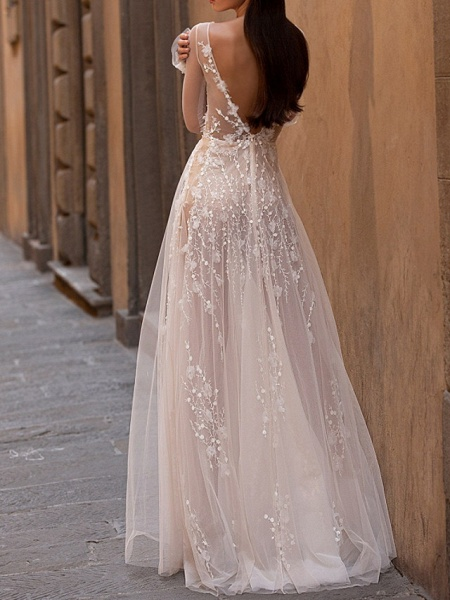 A-Line Wedding Dresses Scoop Neck Floor Length Lace Tulle Long Sleeve Beach Sexy See-Through_4