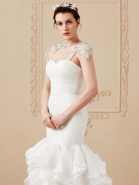 Mermaid \ Trumpet Wedding Dresses Sweetheart Neckline Sweep \ Brush Train Organza Tulle Cap Sleeve Formal Separate Bodies_16