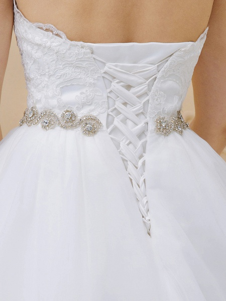 Ball Gown Sweetheart Neckline Chapel Train Tulle Lace Over Tulle Strapless Glamorous Sparkle & Shine Wedding Dresses_7