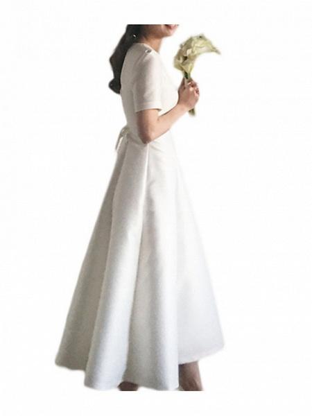 A-Line Wedding Dresses V Neck Sweep \ Brush Train Satin Short Sleeve Cap Sleeve Formal Simple Vintage Plus Size 1950s_3