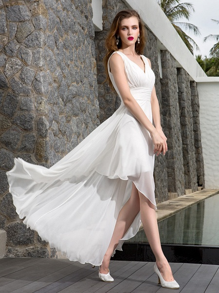 A-Line Wedding Dresses V Neck Asymmetrical Georgette Regular Straps Formal Simple Casual Plus Size_4